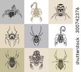 it is nine tattoo illustration... | Shutterstock .eps vector #300742376