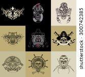 set of nine art label. vector... | Shutterstock .eps vector #300742385