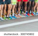 athletes waiting at marathon... | Shutterstock . vector #300745802