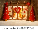christmas decorated window in... | Shutterstock . vector #300749042