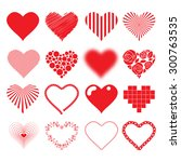 different hearts icons set love ... | Shutterstock .eps vector #300763535