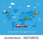 logistics flat global... | Shutterstock .eps vector #300768932