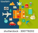 flat design concept for travel... | Shutterstock .eps vector #300778202