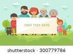 portrait of six member happy... | Shutterstock .eps vector #300779786