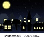 night landscape of old... | Shutterstock .eps vector #300784862