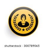woman icon on yellow button... | Shutterstock .eps vector #300789065