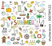 hand drawn summer icons | Shutterstock .eps vector #300789122