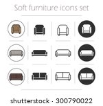 soft furnishing icons set....
