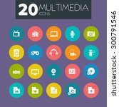 flat design multimedia icons ...