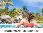 beautiful woman in bikini... | Shutterstock . vector #300805742