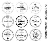 set of 9 circle bakery labels... | Shutterstock . vector #300809372