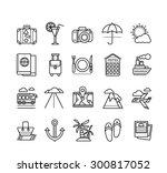 set of black travel thin  lines ... | Shutterstock . vector #300817052