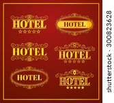 hotel vintage labels  business... | Shutterstock .eps vector #300823628