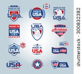 usa and made in usa icons.... | Shutterstock .eps vector #300832382