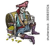 A Skeleton Pirate Holding A Mu...