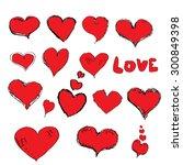 vector doddle hearts set. hand... | Shutterstock .eps vector #300849398