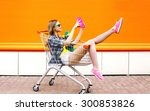 fashion smiling hipster woman...   Shutterstock . vector #300853826