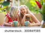 pair of cute middle aged female ... | Shutterstock . vector #300869585