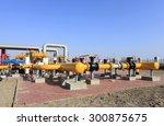oil field scene  oil pipelines... | Shutterstock . vector #300875675