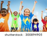kids diverse playing sky field... | Shutterstock . vector #300894905