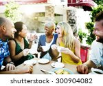 group friends chilling talking... | Shutterstock . vector #300904082