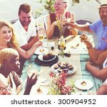 diverse people luncheon... | Shutterstock . vector #300904952