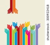 colorful up hands logo  vector... | Shutterstock .eps vector #300922418