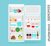 refrigerator or fridge opened... | Shutterstock .eps vector #300929555