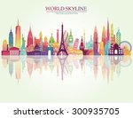 travel and tourism background.... | Shutterstock .eps vector #300935705