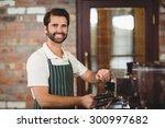 portrait of a smiling barista... | Shutterstock . vector #300997682