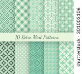 10 retro mint and emerald... | Shutterstock .eps vector #301003106
