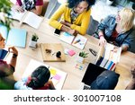 diverse group people working... | Shutterstock . vector #301007108