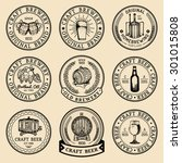 old brewery logos set. kraft... | Shutterstock .eps vector #301015808