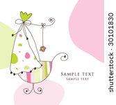 baby arrival card   girl... | Shutterstock .eps vector #30101830