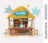 beach bar with bartender... | Shutterstock .eps vector #301021052