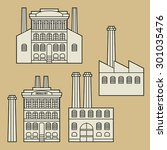 vintage house or factory set ... | Shutterstock .eps vector #301035476