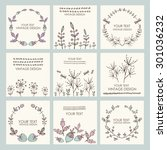 vector set  floral wreath and... | Shutterstock .eps vector #301036232