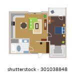 flat project with furniture ... | Shutterstock .eps vector #301038848