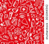 seamless pattern medical icons...   Shutterstock .eps vector #301044542