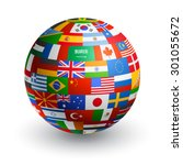 a 3d globe composed by the... | Shutterstock .eps vector #301055672