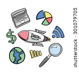 coloured marketing icons hand...   Shutterstock .eps vector #301079705