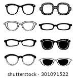 drawn glasses vector set. retro ... | Shutterstock .eps vector #301091522