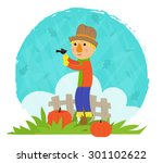 scarecrow with bird   clip art... | Shutterstock .eps vector #301102622