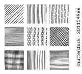 set lines of ink hand drawn... | Shutterstock .eps vector #301154966
