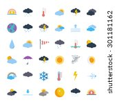 weather icons set. flat vector... | Shutterstock .eps vector #301181162