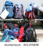 backpacks of hikers before... | Shutterstock . vector #301195898