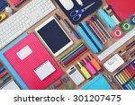 education or school tablet... | Shutterstock . vector #301207475