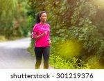 african american woman runner...   Shutterstock . vector #301219376