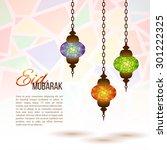 eid mubarak background. eid... | Shutterstock .eps vector #301222325