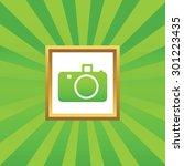 image of camera in golden frame ...